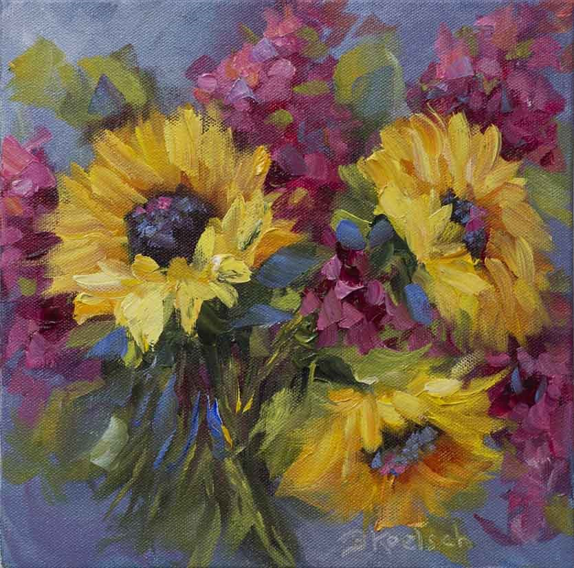 """""""Sunflower Serendipity"""" original fine art by Bobbie Koelsch"""