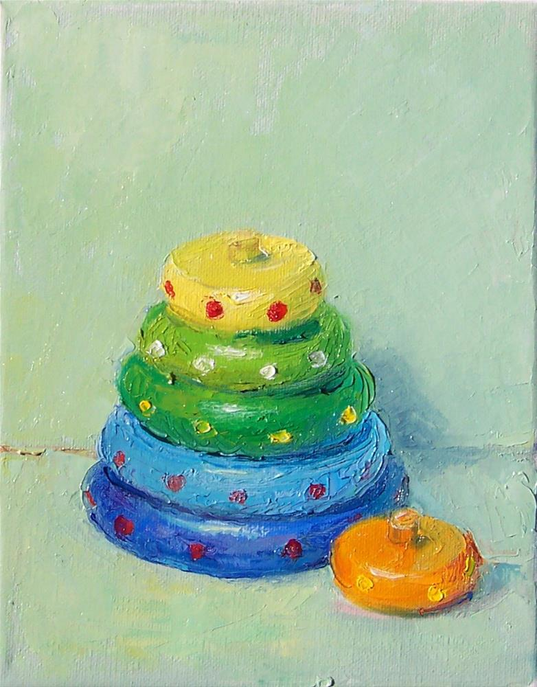 """Old Wooden Stacking Toy,still life,oil on canvas,10x8,price$200"" original fine art by Joy Olney"