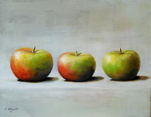"""Lady Apples on White"" original fine art by Christina Dowdy"