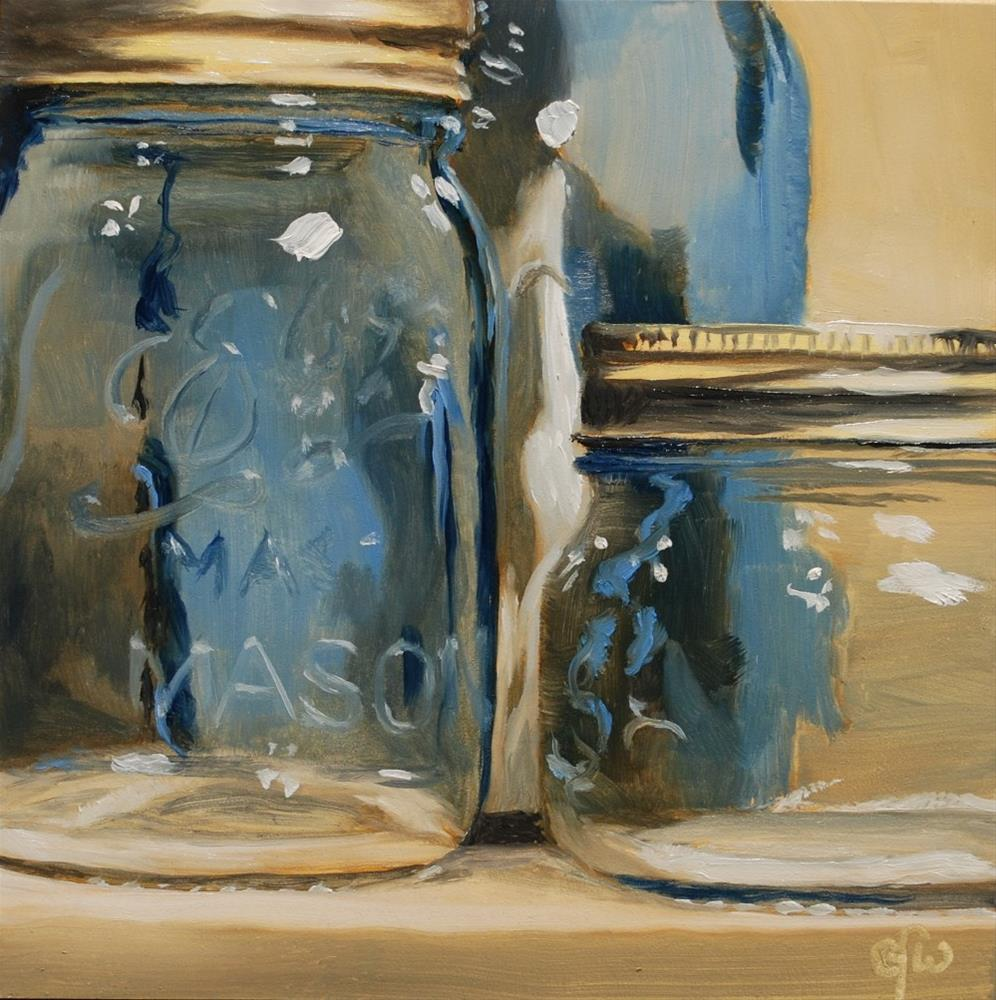"""Three Blue Jars"" original fine art by Gary Westlake"