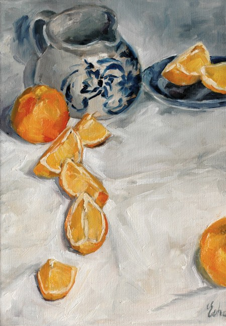 """La farandole des oranges"" original fine art by Evelyne Heimburger Evhe"