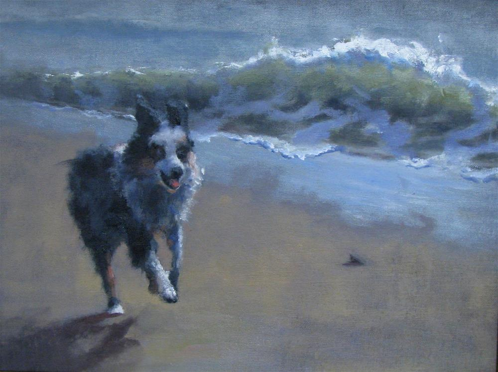 """running pup"" original fine art by tom dawson"