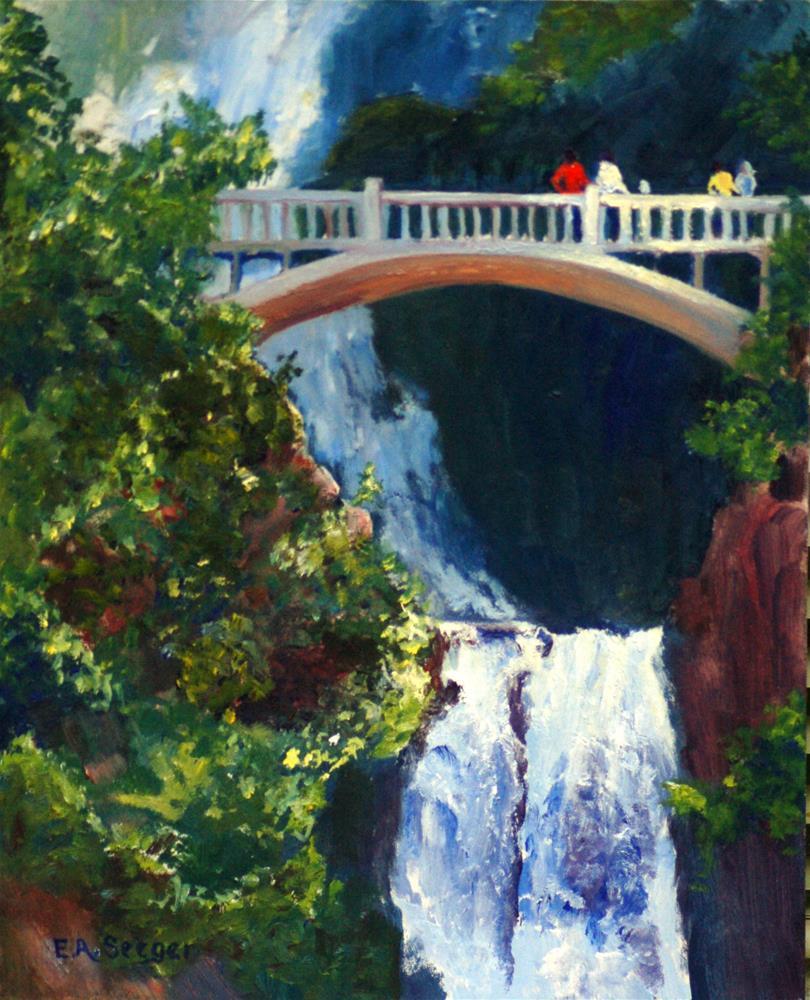 """Multnomah Falls From the Bridge"" original fine art by Elisabeth Seeger"