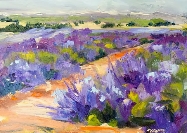 """Colorado Flood Relief Fundraiser KM2124 Fields of Lavender by Kit Hevron Mahoney (5x7 original oil l"" original fine art by Kit Hevron Mahoney"