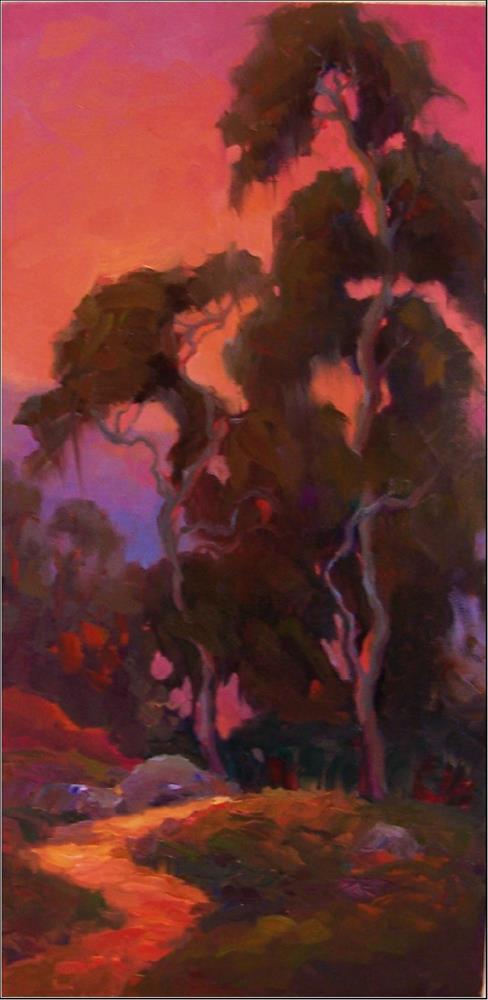 """Eventide 12x24, oil on panel, eucalyptus trees, California impressionist art, California art, suns"" original fine art by Maryanne Jacobsen"