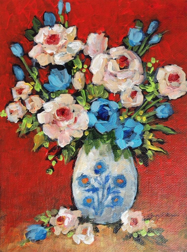 """Blue Flowered Vase"" original fine art by Nancy F. Morgan"