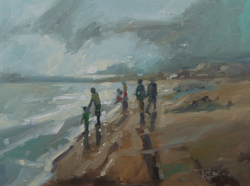 """""""No 473 Watching the Tide Comming In"""" original fine art by Robin J Mitchell"""