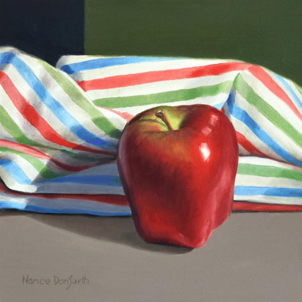 """Apple with Striped Cloth"" original fine art by Nance Danforth"