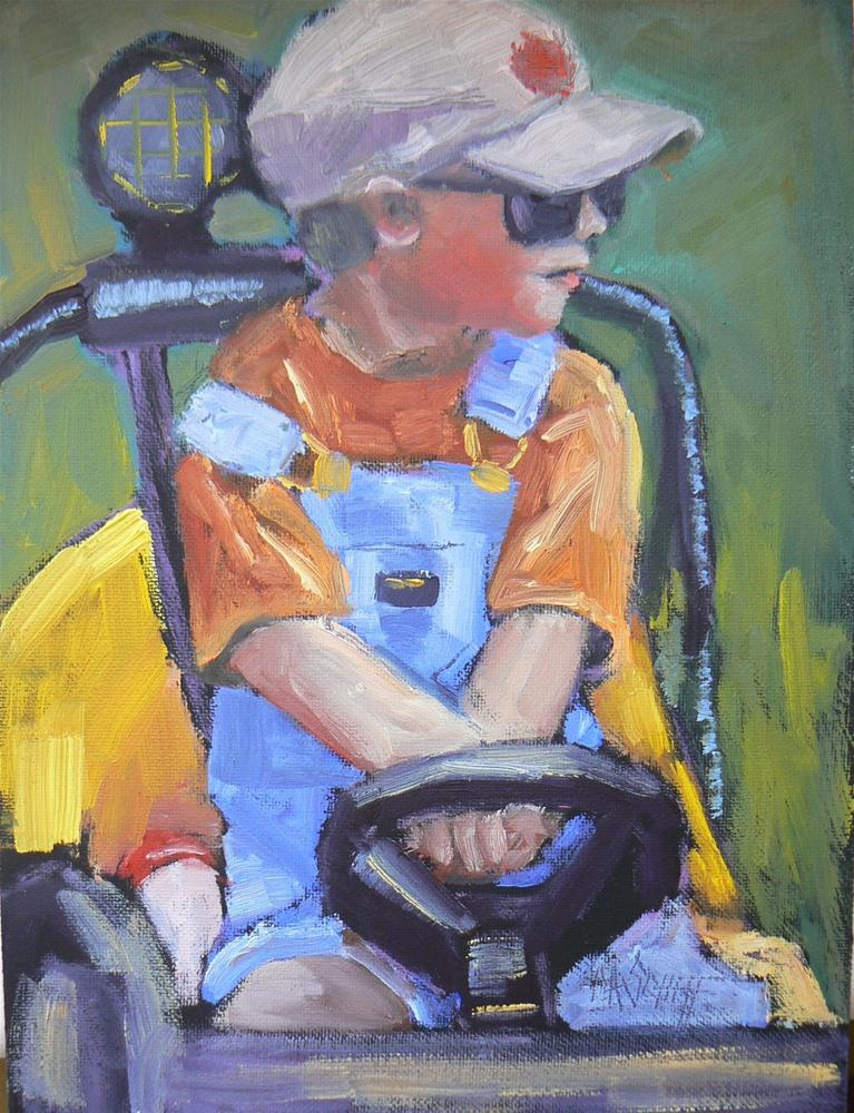 """DAILY PAINTING, CHILD, FIGURATIVE, 'JUST LIKE DADDY' 6X8"" original fine art by Carol Schiff"