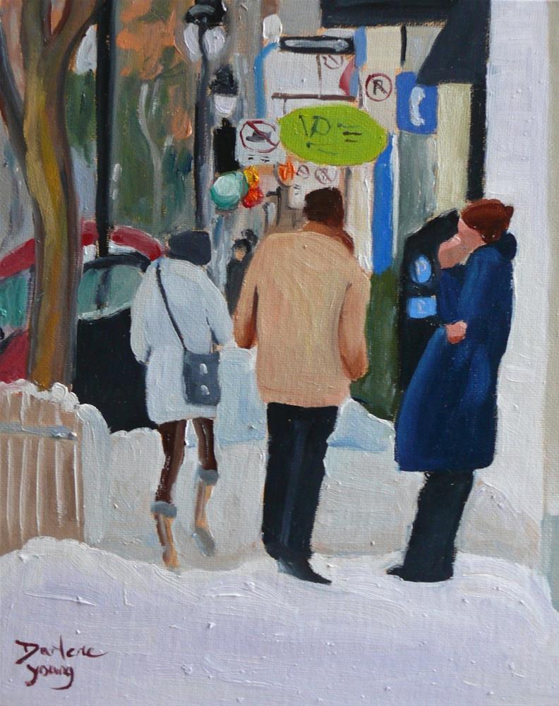 """906 Montreal Winter Scene, Le Plateau, 8x10, oil on board"" original fine art by Darlene Young"