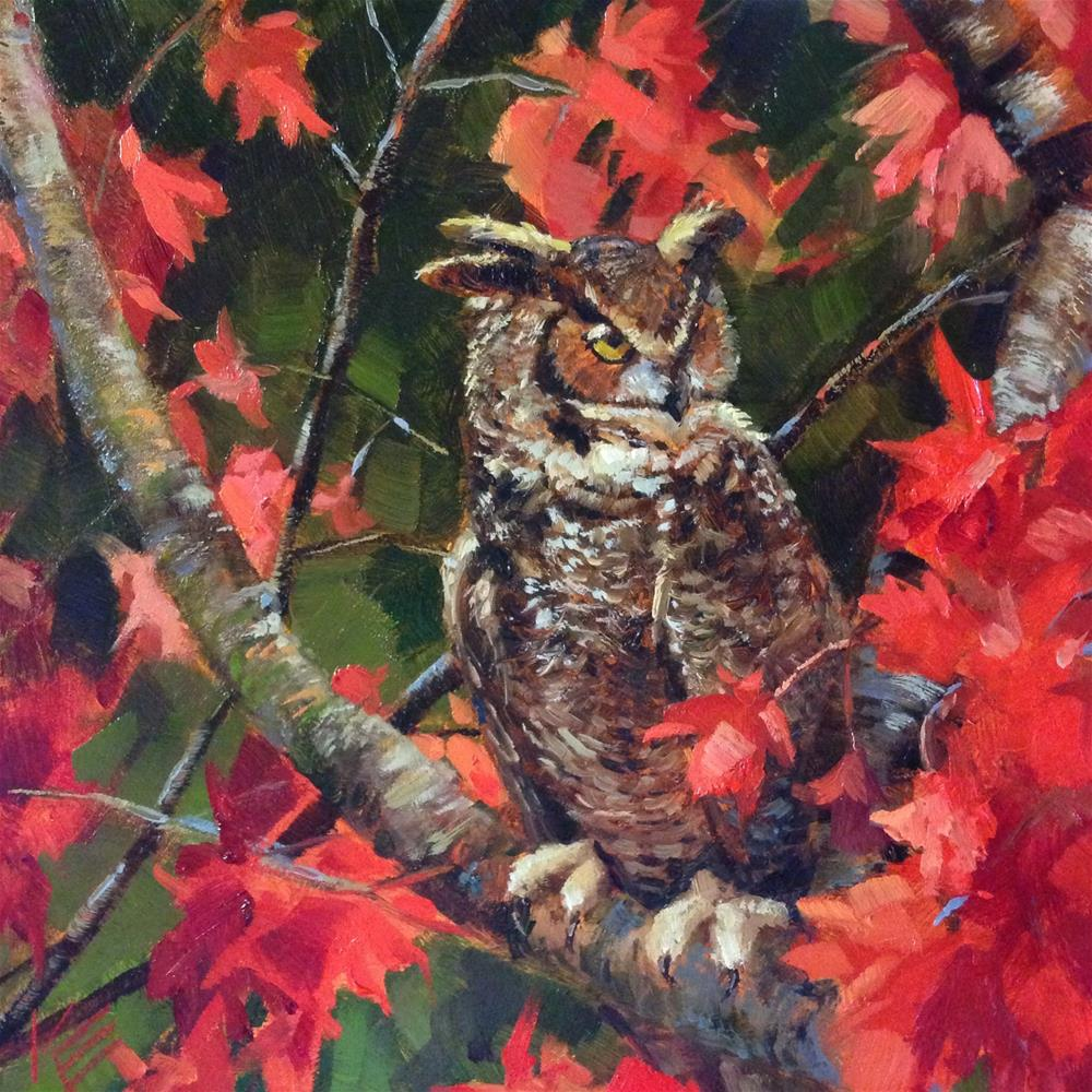 """This weeks Dailypaintworks owl challenge ~the Great Horned Owl~"" original fine art by Krista Eaton"