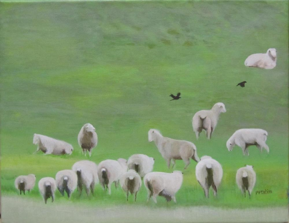 """Sheep ranch in the foothills"" original fine art by Pratima Patel"