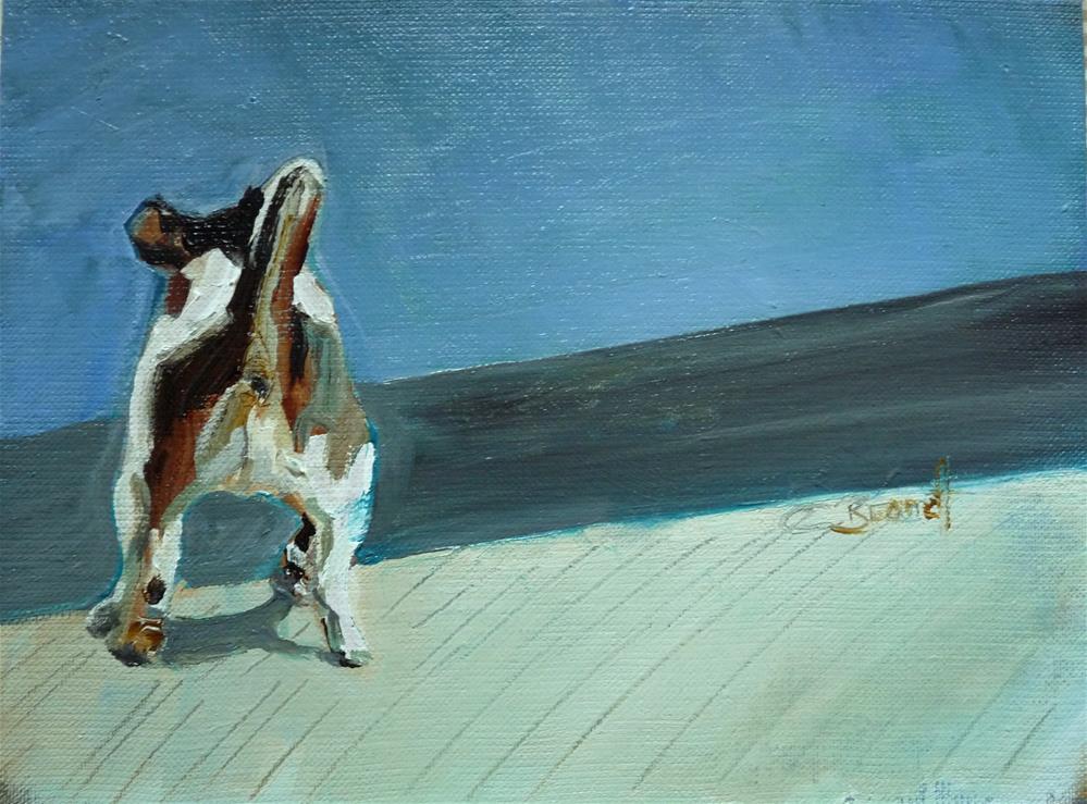 """""""dog in blue"""" original fine art by Claudia Brandt"""