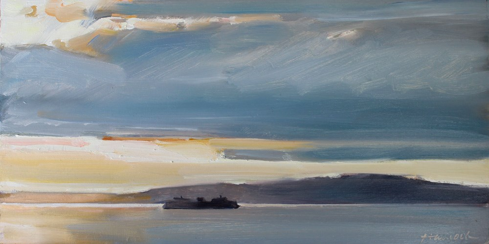 """Ferry at Sunset"" original fine art by Gretchen Hancock"