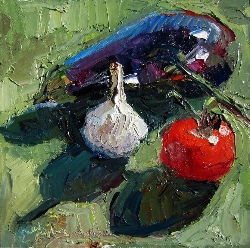 """Eggplant, Garlic, Tomato"" original fine art by Carol Steinberg"