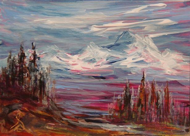 """3137 - MAGENTA MOUNTAINS - ACEO Series"" original fine art by Sea Dean"