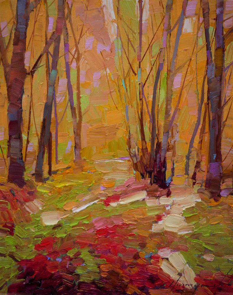 """Autumn Trees Original oil Painting"" original fine art by V Yeremyan"