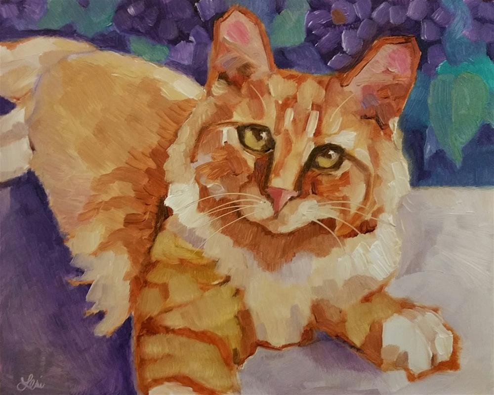 """Orange Kitty Moment"" original fine art by Leni Tarleton"