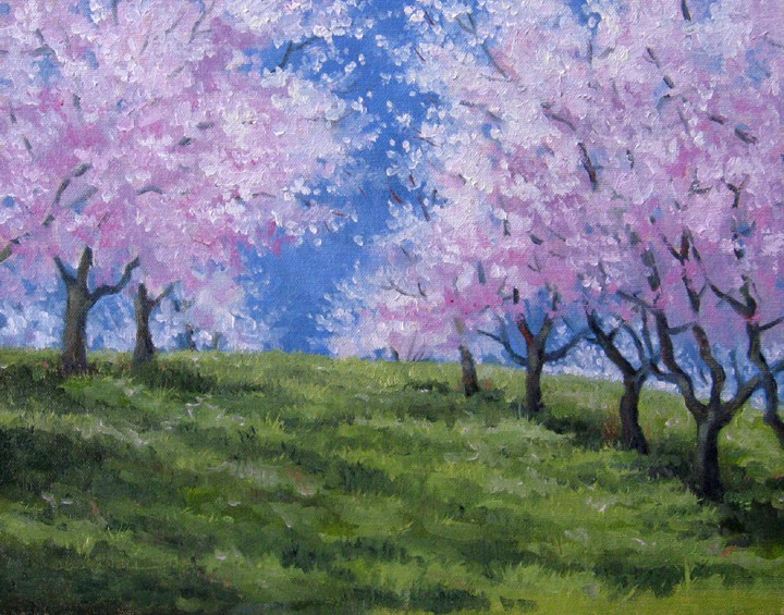 """""""DONATION TO LAND CONSERVANCY OF ADAMS COUNTY PEACH TREES ON THE HILL An Original Oil Painting  by Cl"""" original fine art by Claire Beadon Carnell"""