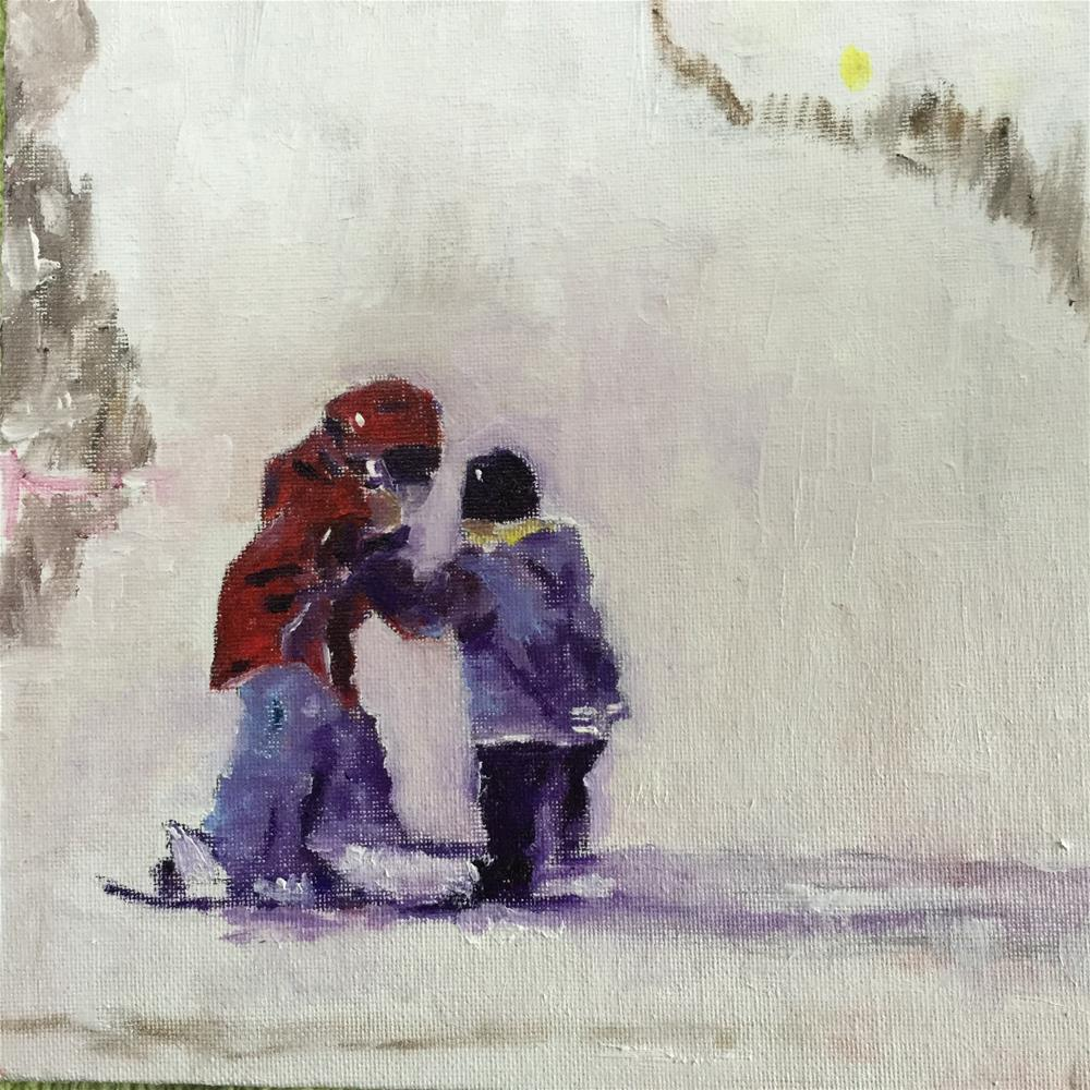 """Big brother ski lesson"" original fine art by pamela kish"