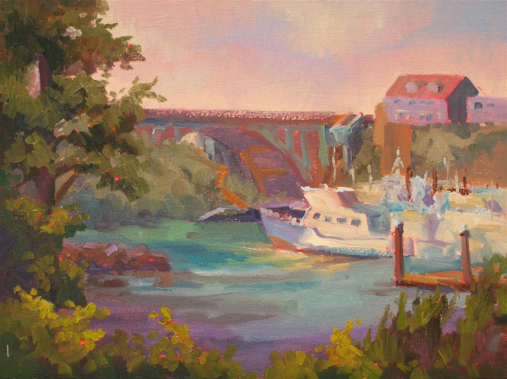 """DEPOE BAY HARBOR"" original fine art by Karen E Lewis"