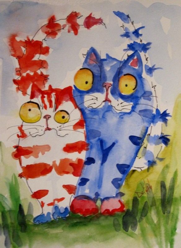"""Fourth of July Cats"" original fine art by Delilah Smith"