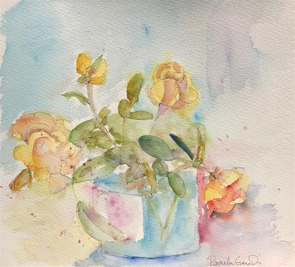 """Early Roses, David Austin 'Charlotte', From my Garden"" original fine art by Pamela Gorecki"