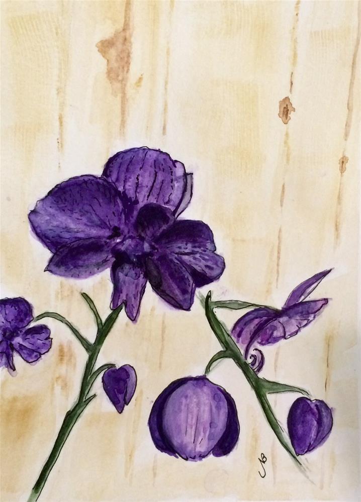 """""""Orchid #2 Watercolor 9 x 6"""" original fine art by Nancy Beard"""