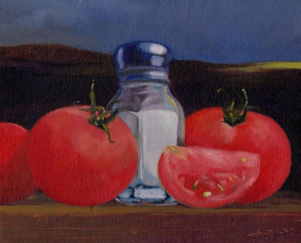 """salt and tomatoes"" original fine art by Leo DeBak"