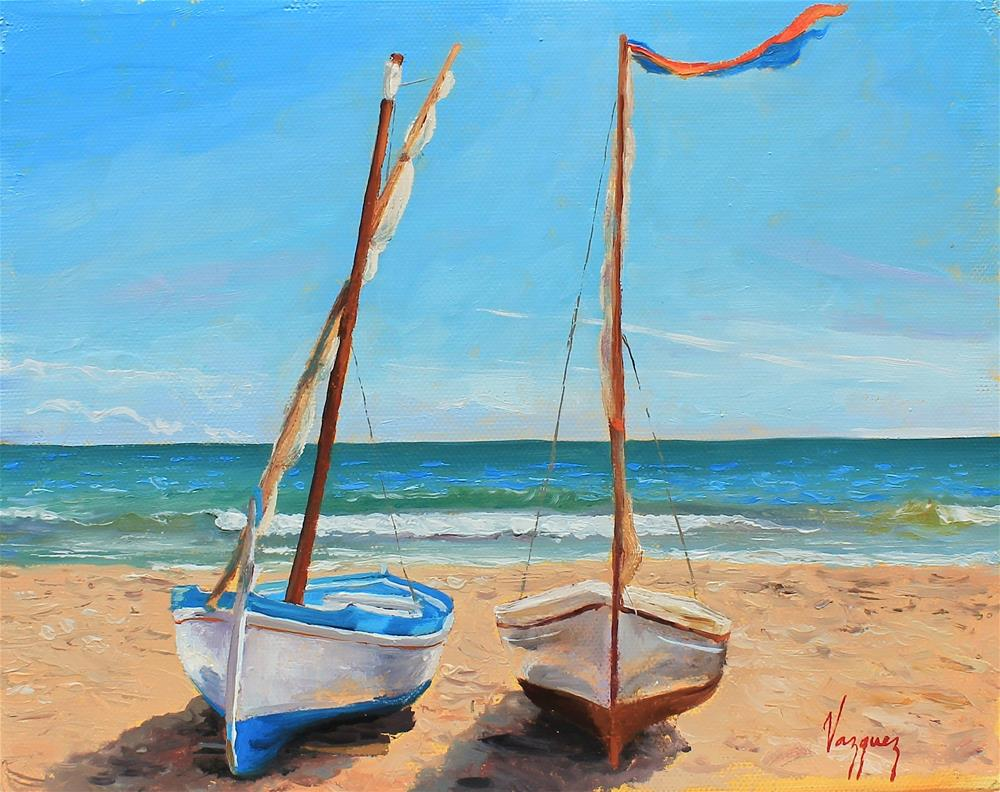 """Boats on the beach"" original fine art by Marco Vazquez"