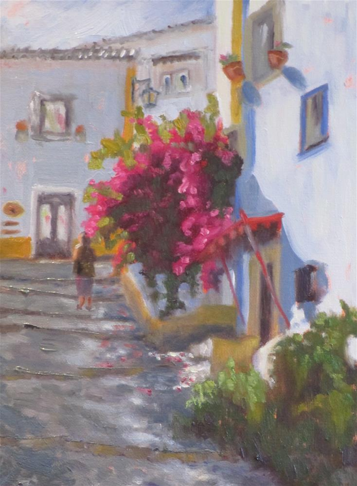 """A Quiet Street in Obidos"" original fine art by Judy Elias"