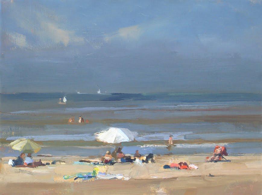 """Zonnig aan het strand - witte parasol"" original fine art by Roos Schuring"