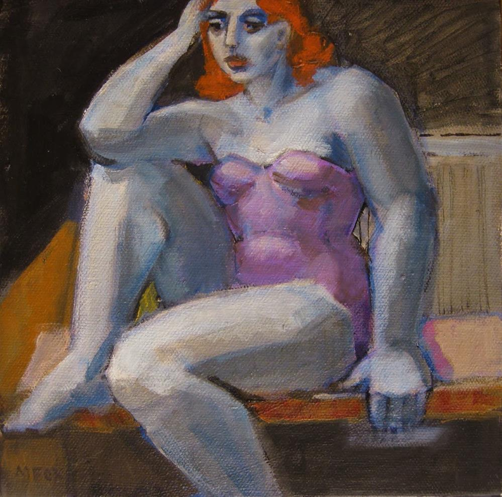 """Figurative original painting of seated woman, figuration, figure female, contemporary figurative art"" original fine art by Marie Fox"