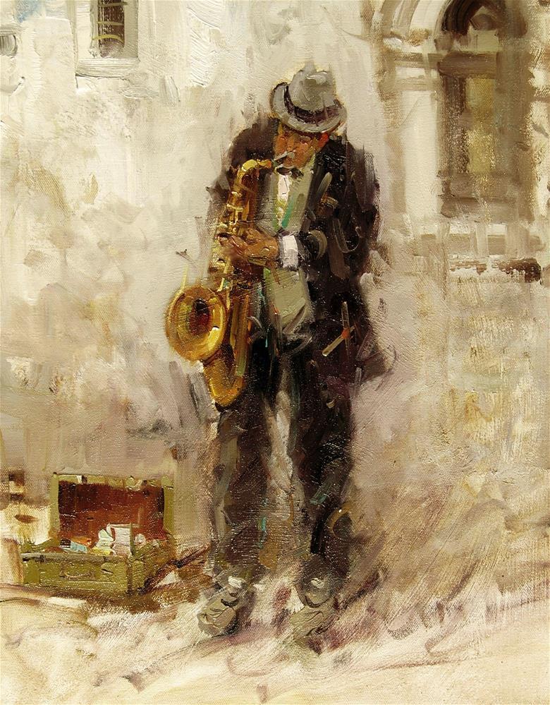 """Saxophone Player(Prague)"" original fine art by Mostafa Keyhani"