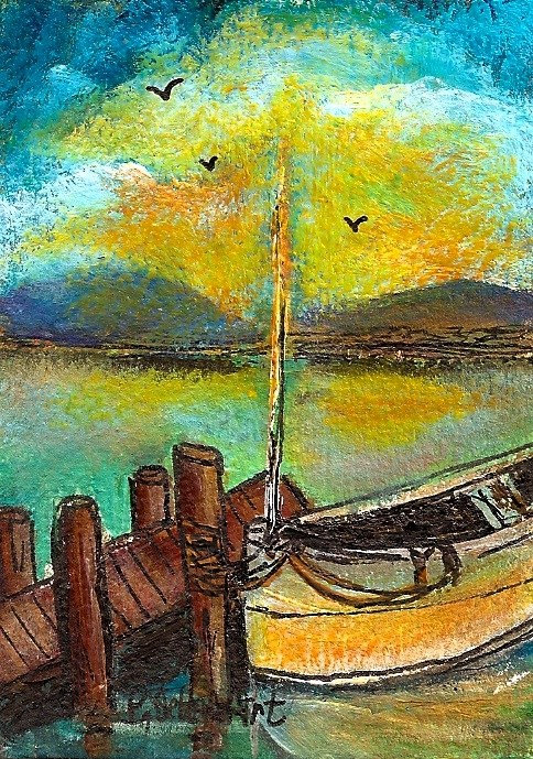 """ACEO Sailboat Dock Sunset Illustration birds sky Sea SFA Colorful Penny StewArt"" original fine art by Penny Lee StewArt"