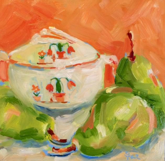 """Three Pears"" original fine art by Suzy 'Pal' Powell"