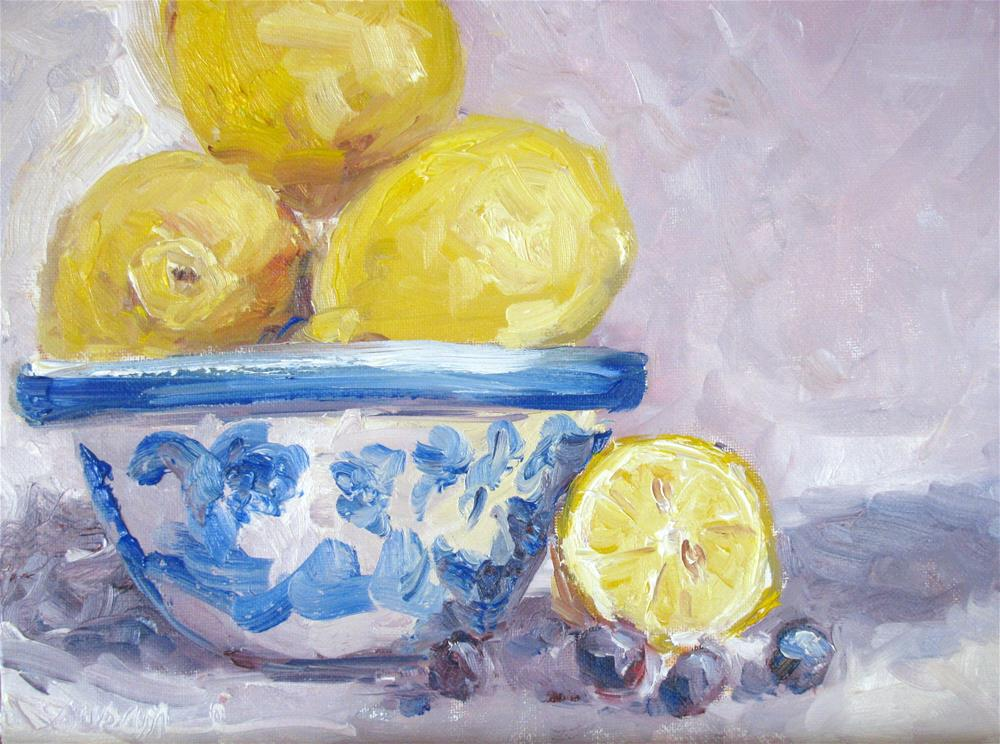 """Lemons and Blueberries"" original fine art by Susan Elizabeth Jones"