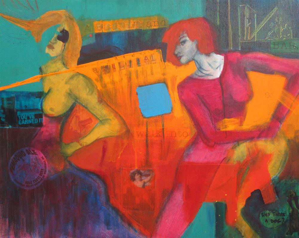 """A Blond and a Redhead Walked into a Bar..."" original fine art by Carol Wiley"