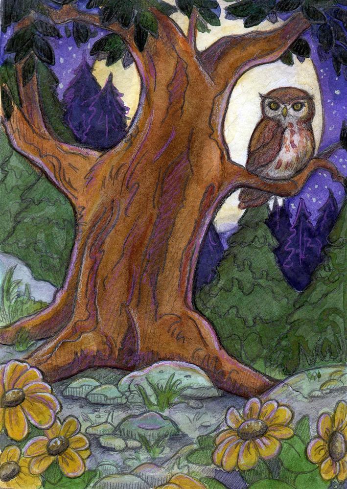 """Owl at Night"" original fine art by Lisa Ferguson"