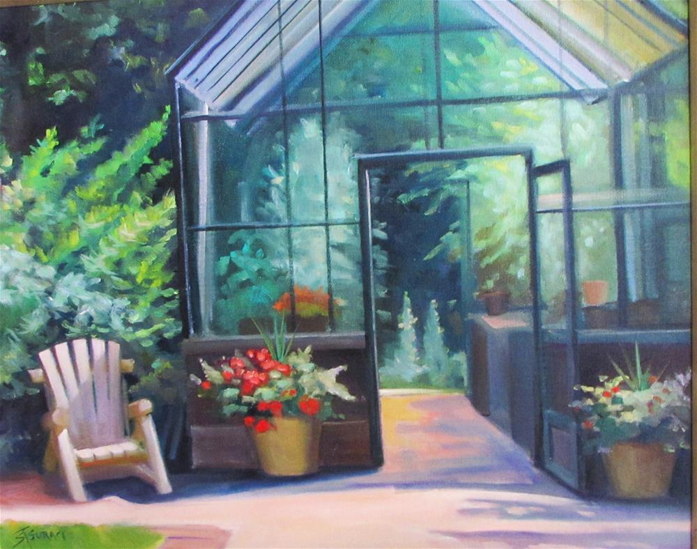 """The Greenhouse at DeFries Gardens"" original fine art by Susan Suraci"