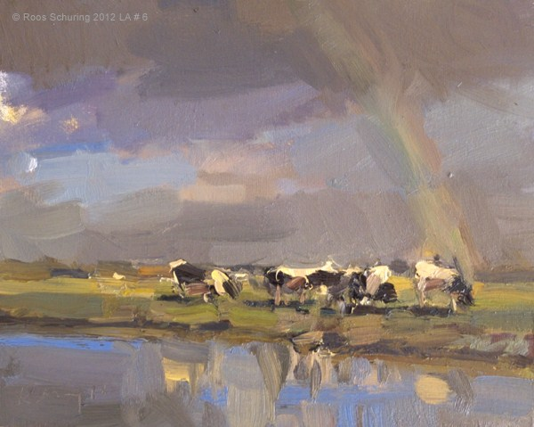 """Landscape autumn #6 Rainbow and cows - koeien (SOLD)"" original fine art by Roos Schuring"