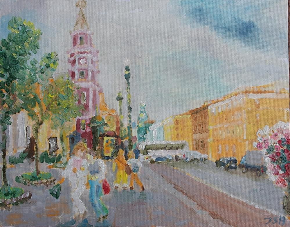 """walking Nevsky in St.Petersburg"" original fine art by Yuriy Semyonov"