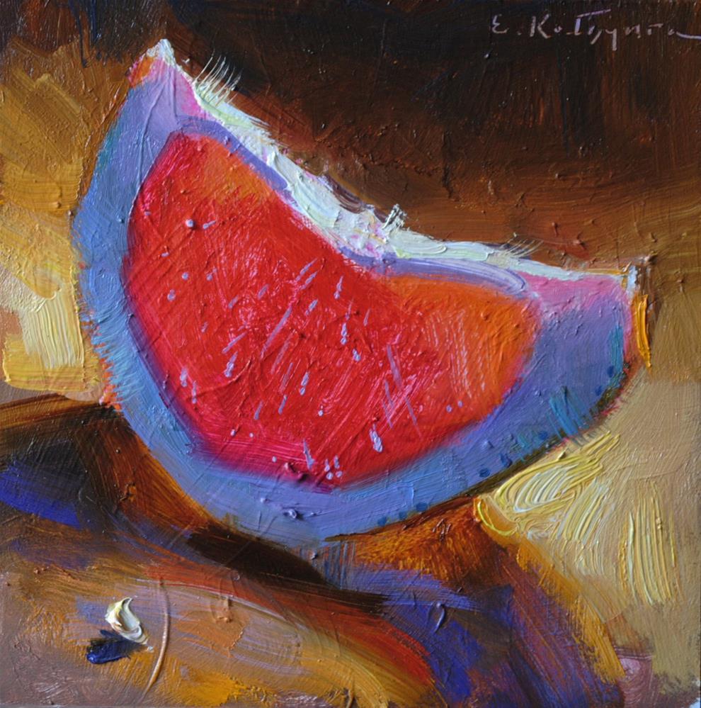 """""""Pink Pomelo Slice"""" original fine art by Elena Katsyura"""