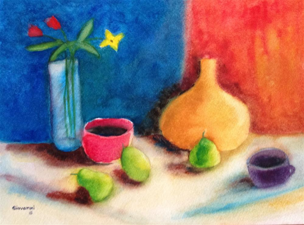 """Pears, flowers, and of course coffee"" original fine art by Giovanni Antunez"