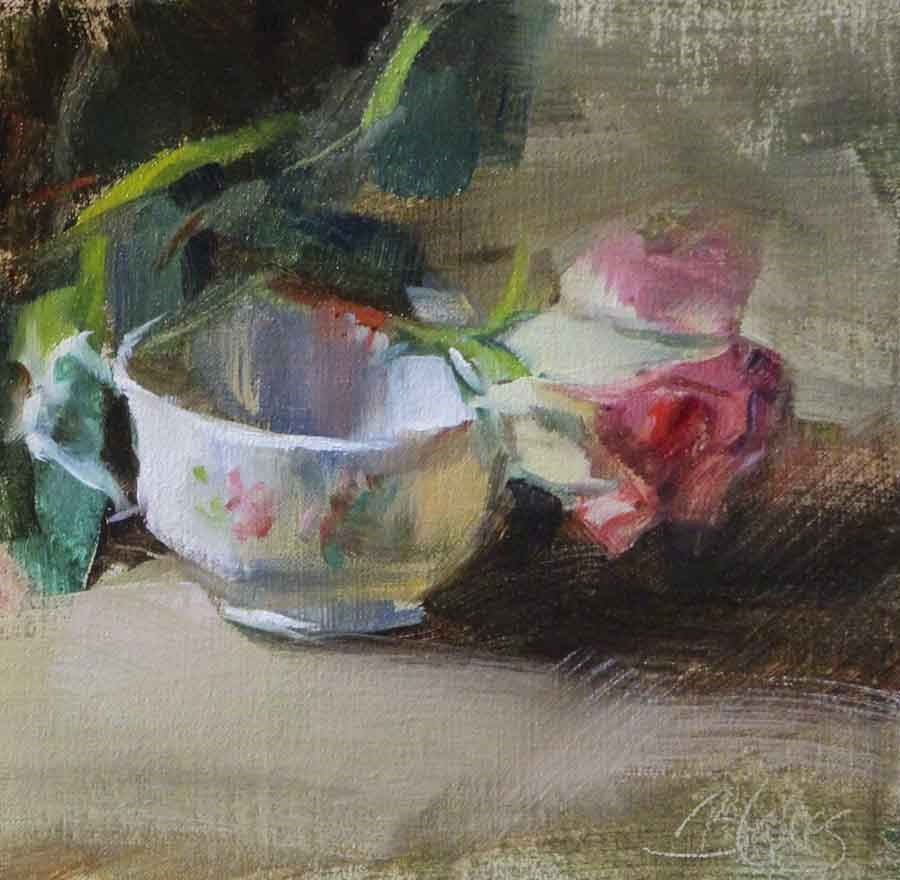 """A Rose and a Teacup"" original fine art by Pamela Blaies"