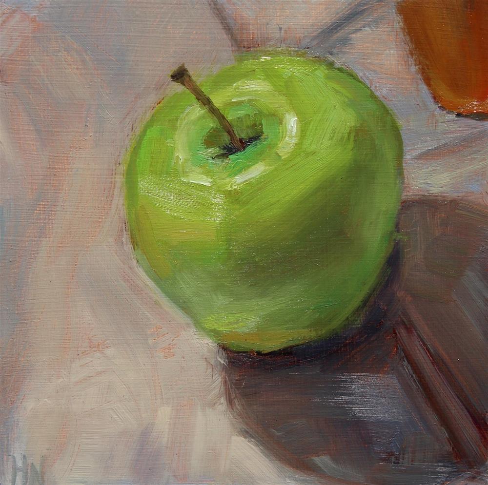 """""""Green Apple"""" original fine art by Heather Nibert"""