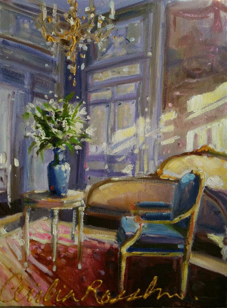 """RUS STOEL IN BLOU"" original fine art by Cecilia Rosslee"