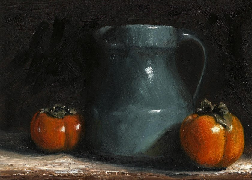 """Glazed jug with persimmons"" original fine art by Peter J Sandford"