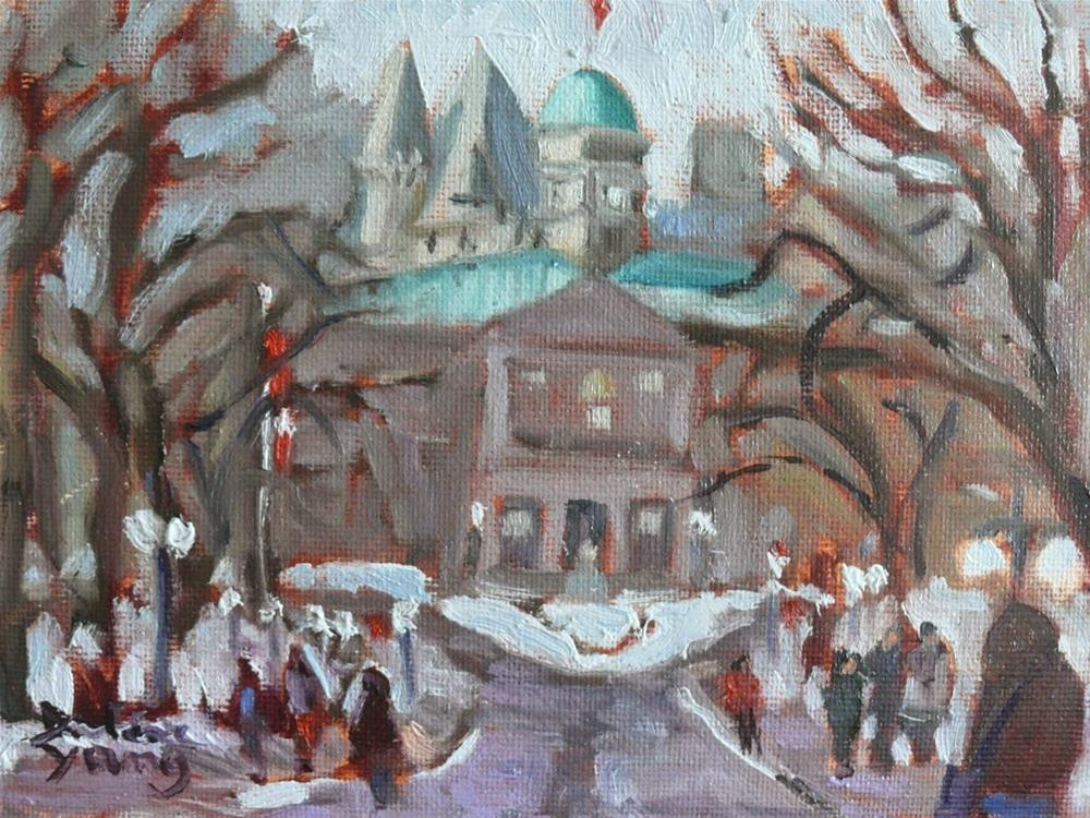 """786 McGill University, Montreal Winter, 8x6"" original fine art by Darlene Young"