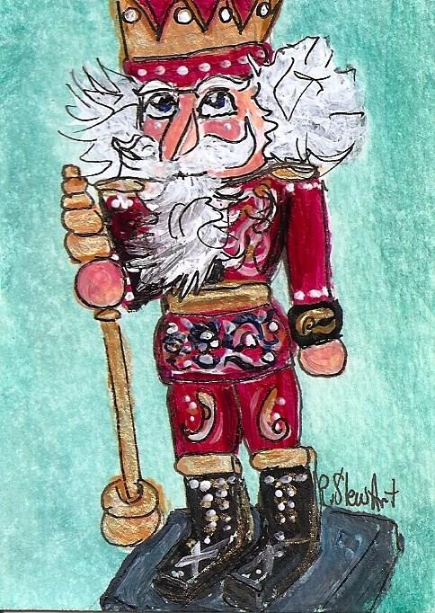 """""""ACEO Nutcracker Magenta Rosemaling Norwegian King SFA Penny StewArt"""" original fine art by Penny Lee StewArt"""